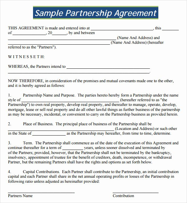 Real Estate Partnership Agreement Template New 16 Partnership Agreement Templates