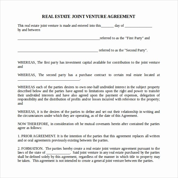 Real Estate Partnership Agreement Template Unique 10 Real Estate Partnership Agreement Templates to Download