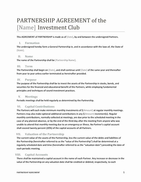 Real Estate Partnership Agreement Template Unique Printable Sample Partnership Agreement Template form