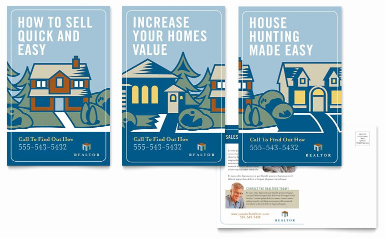 Real Estate Postcard Template Awesome Real Estate Agent Postcard Template Word & Publisher