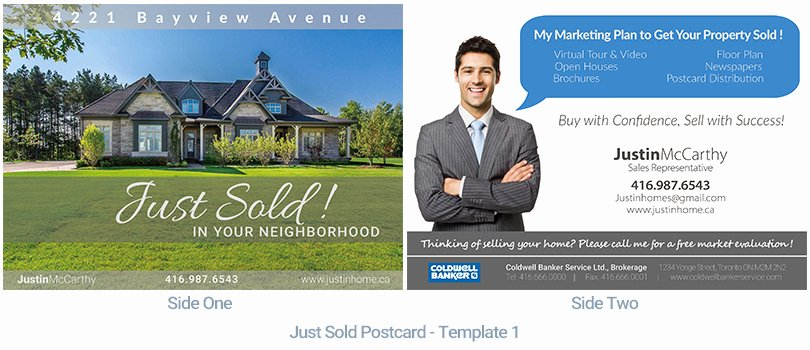 Real Estate Postcard Template Beautiful Real Estate Postcard Just sold Housslook