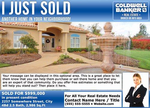 Real Estate Postcard Template Fresh Coldwell Banker Eddm Just sold Postcards