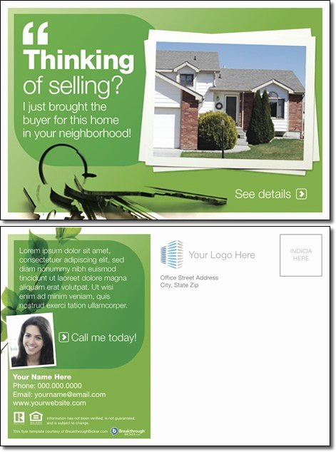 """Real Estate Postcard Template Inspirational """"thinking Selling """" Postcard"""