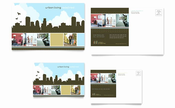 Real Estate Postcard Template Inspirational Urban Real Estate Postcard Template Design