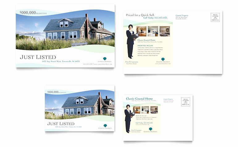 Real Estate Postcard Template Lovely Coastal Real Estate Postcard Template Word & Publisher