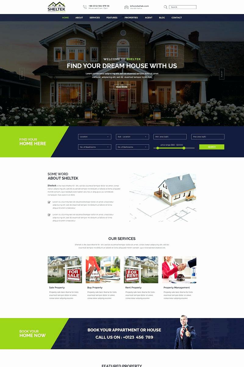 Real Estate Website Template Beautiful Best Real Estate Agent Website Template Design Example