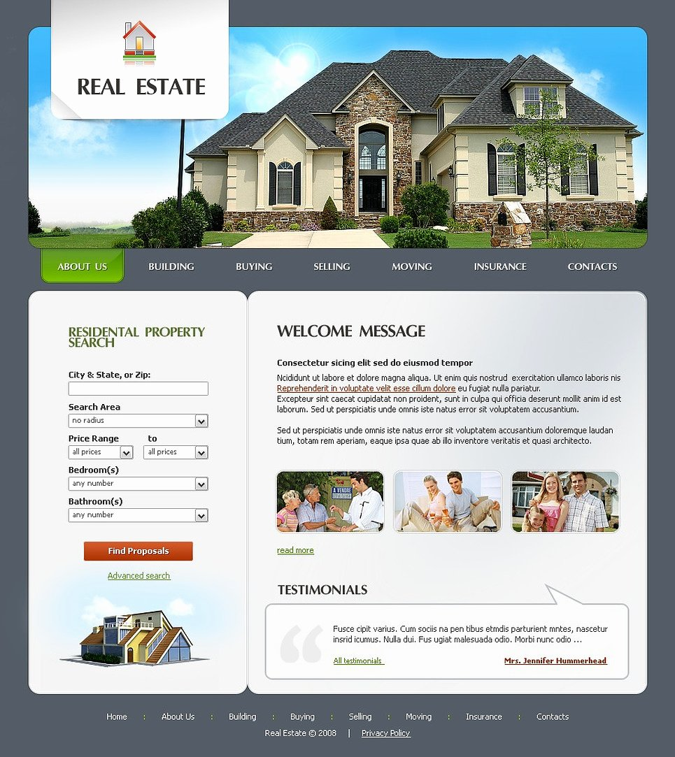 Real Estate Website Template Elegant Real Estate Agency Website Template