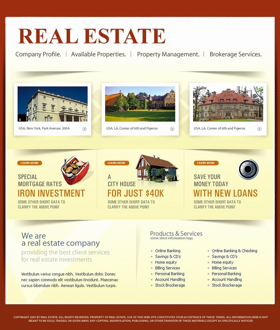 Real Estate Website Template Fresh Real Estate Agency Website Template