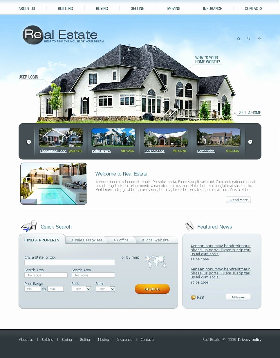 Real Estate Website Template Lovely Real Estate Agency Website Template