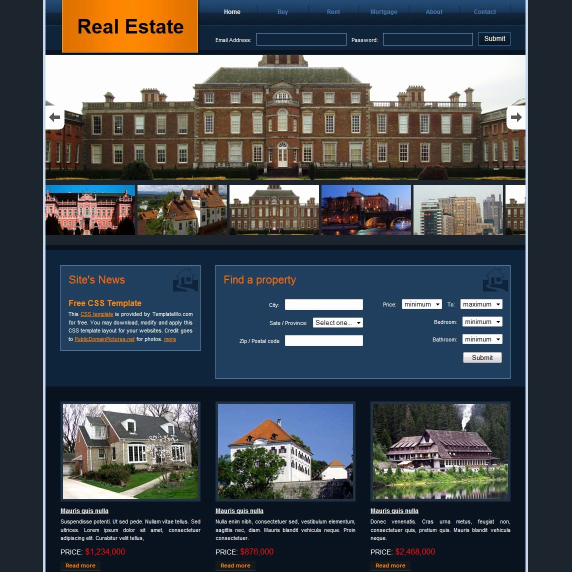 Real Estate Website Template Luxury Free HTML Website Templates