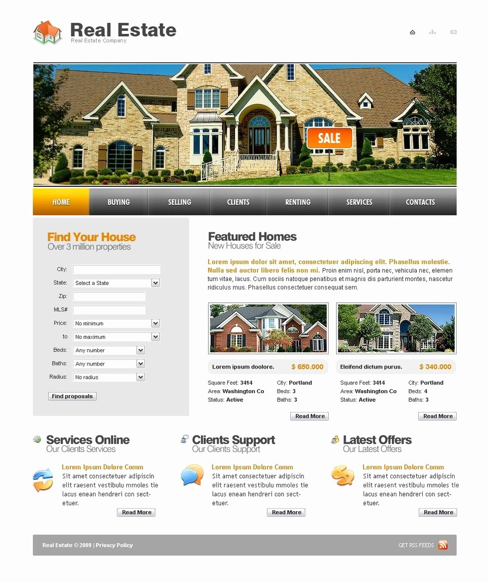 Real Estate Website Template Unique Real Estate Agency Website Template