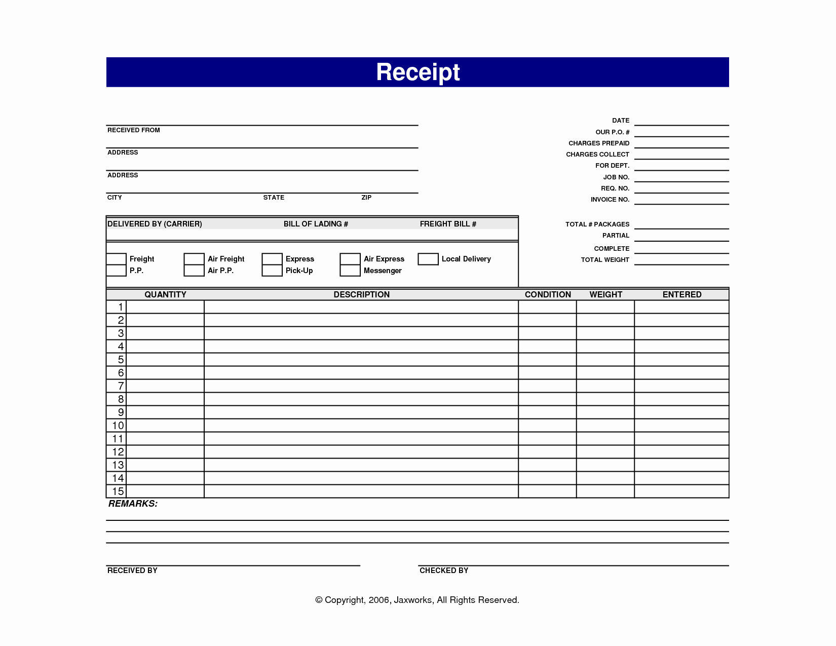 Receipt Template Free Printable Elegant 7 Best Of Blank Printable Receipt Templates Free