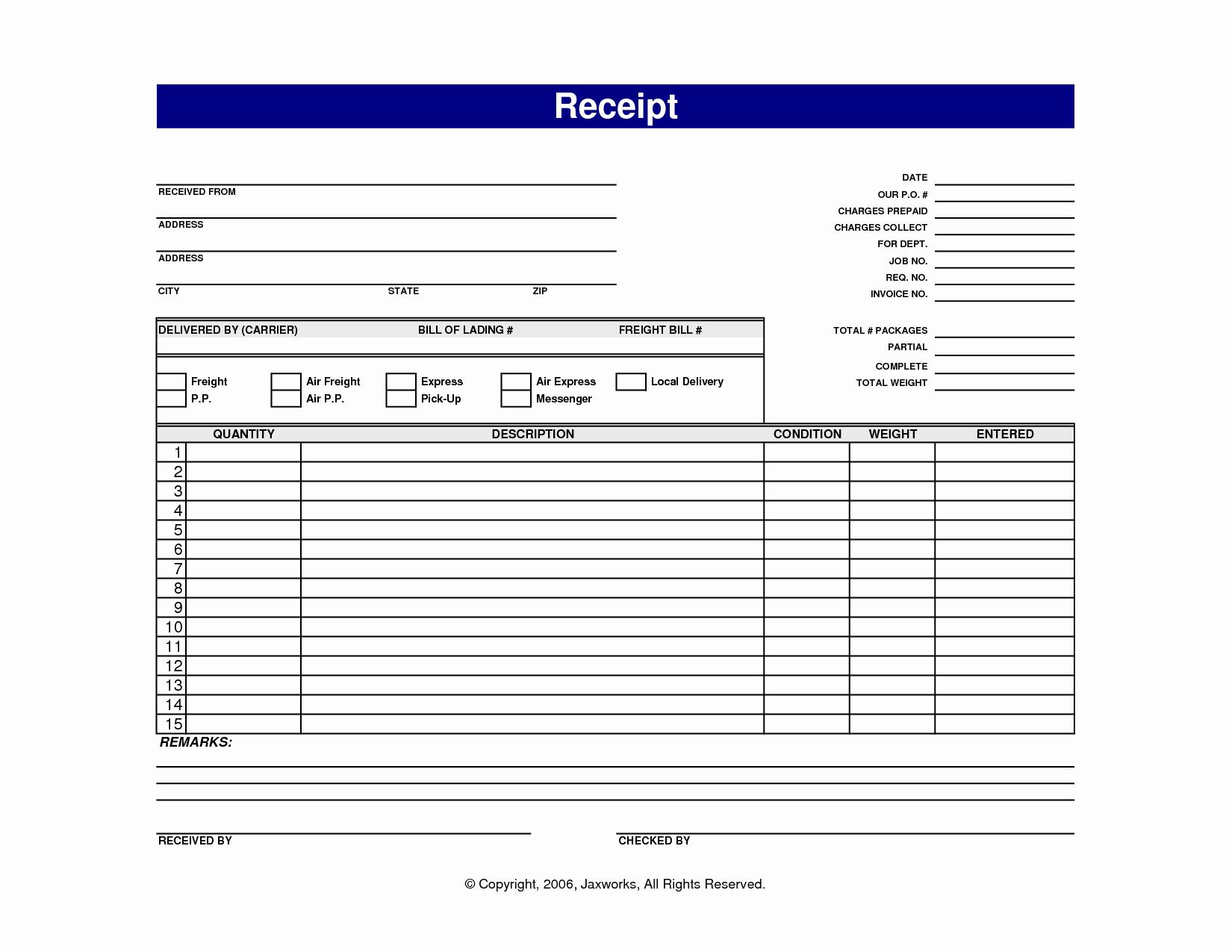 Receipt Template Free Printable Elegant 7 Best Of Blank Printable Receipt Templates Free