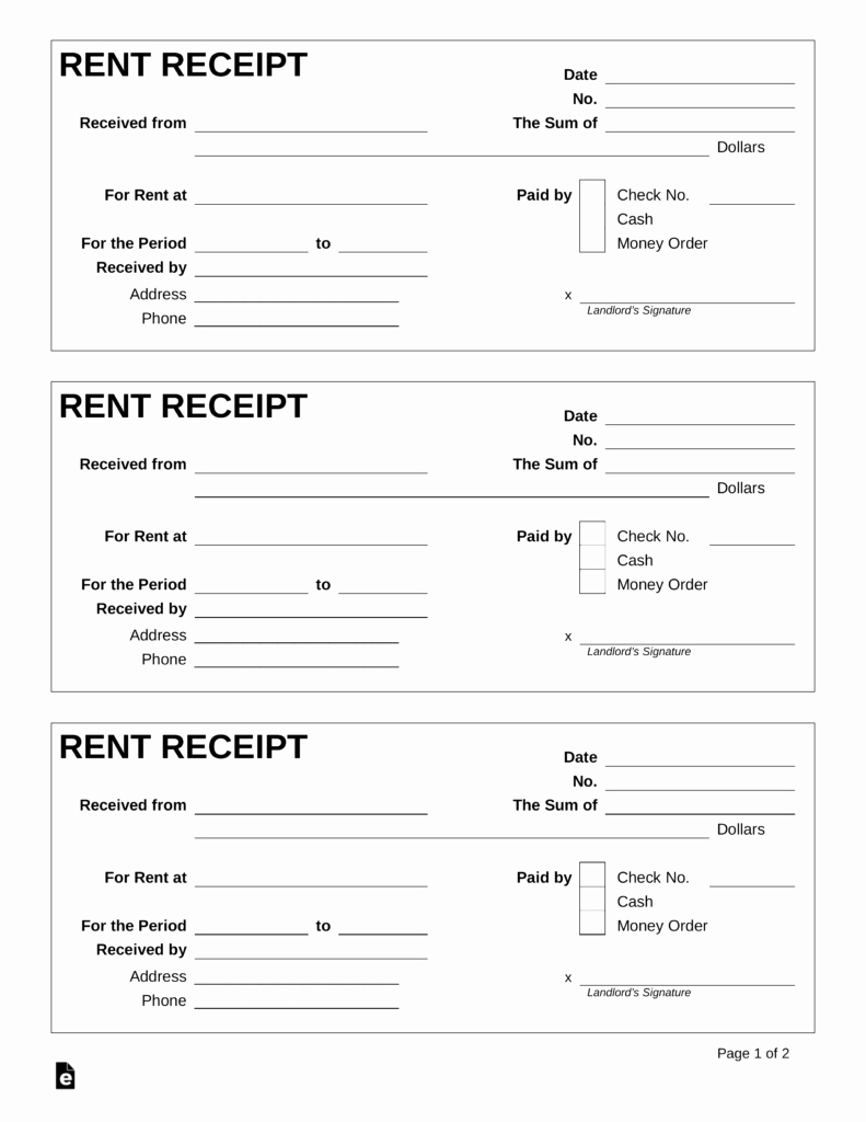 Receipt Template Free Printable Elegant Printable Receipt for Rent