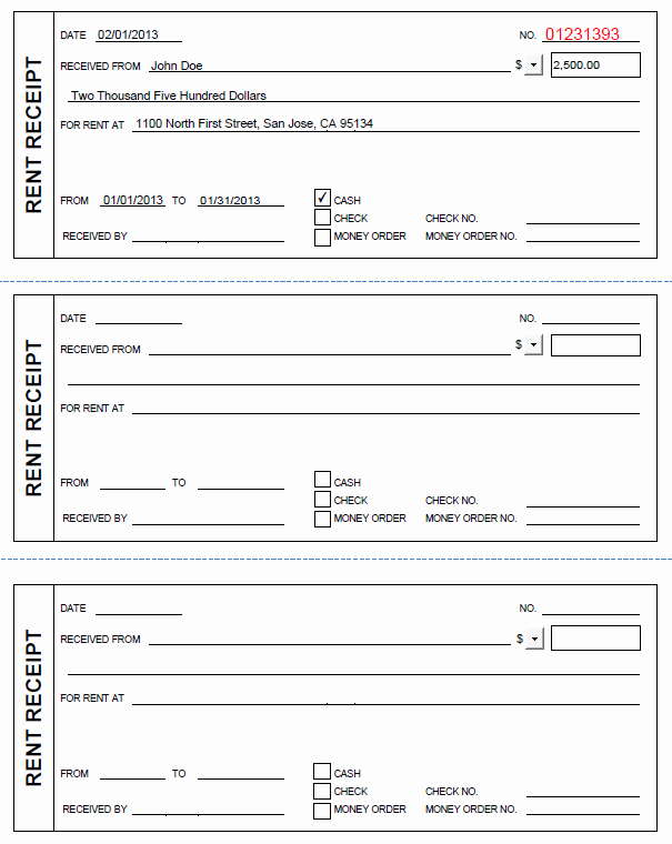 Receipt Template Free Printable Elegant Printable Rent Receipt In Pdf form