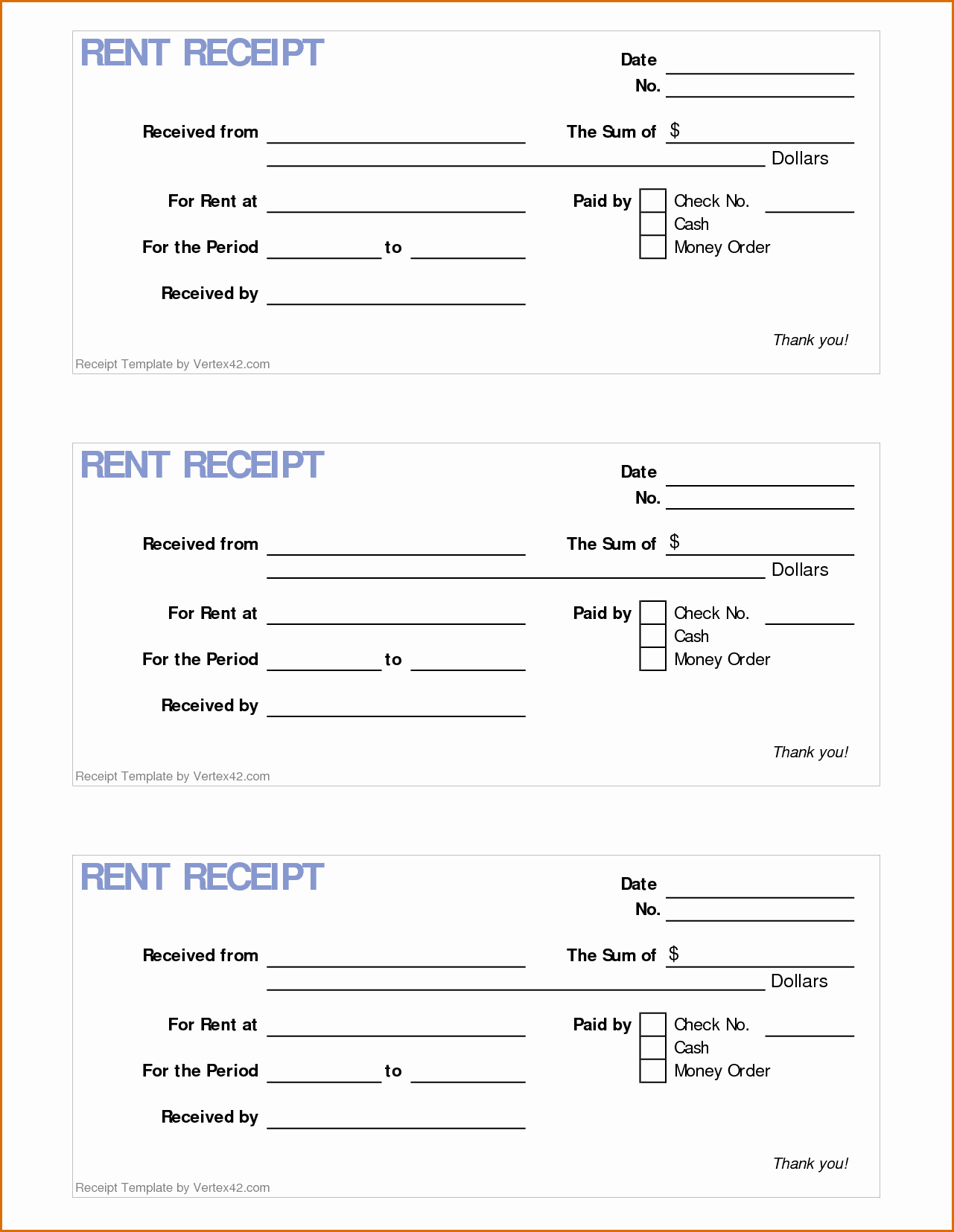 Receipt Template Free Printable Fresh 4 Printable Rent Receipt