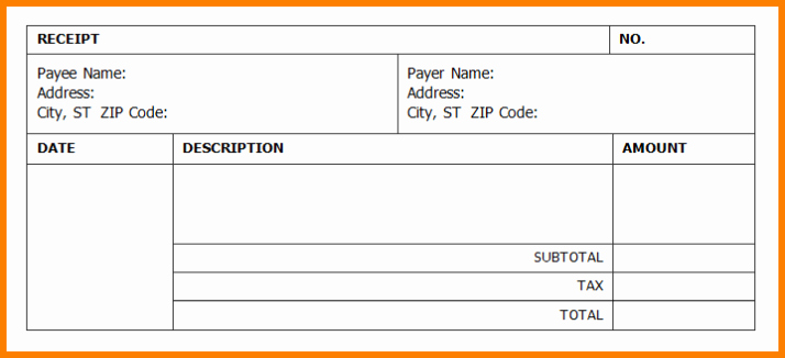 Receipt Template Free Printable Lovely Receipt Template Word