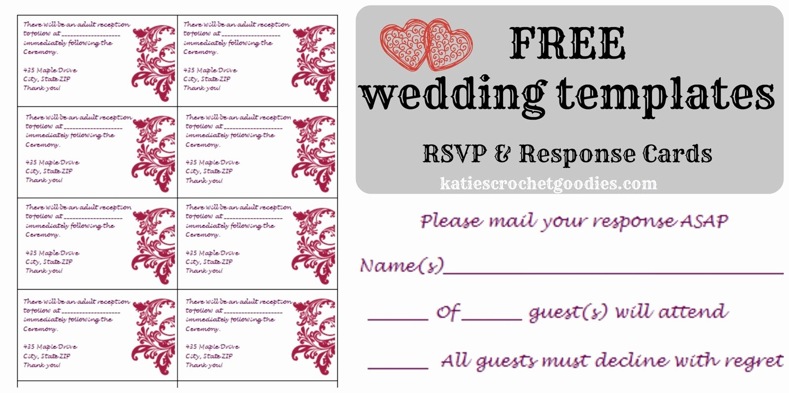 Reception Cards Template Free Beautiful Free Wedding Templates Rsvp & Reception Cards Katie S