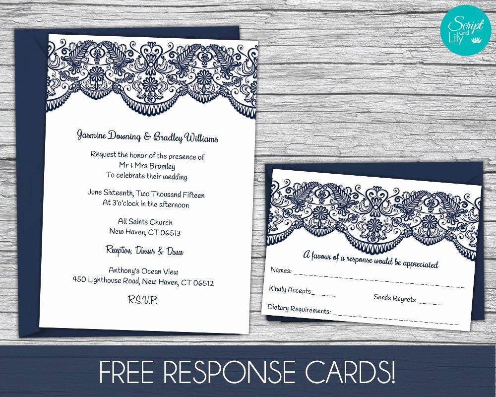 Reception Cards Template Free Beautiful Lace Wedding Invitation Template Free Response Card Template