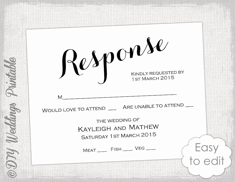 Reception Cards Template Free Beautiful Rsvp Template Diy Calligraphy Carolyna Printable
