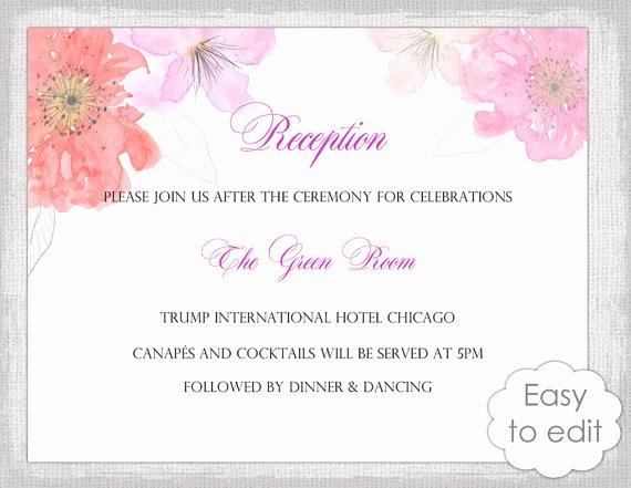 Reception Cards Template Free Beautiful Wedding Reception Invitation Template Diy Printabl with