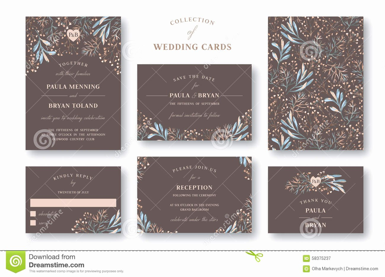 Reception Cards Template Free Elegant Collection Wedding Invitation Stock Vector Image