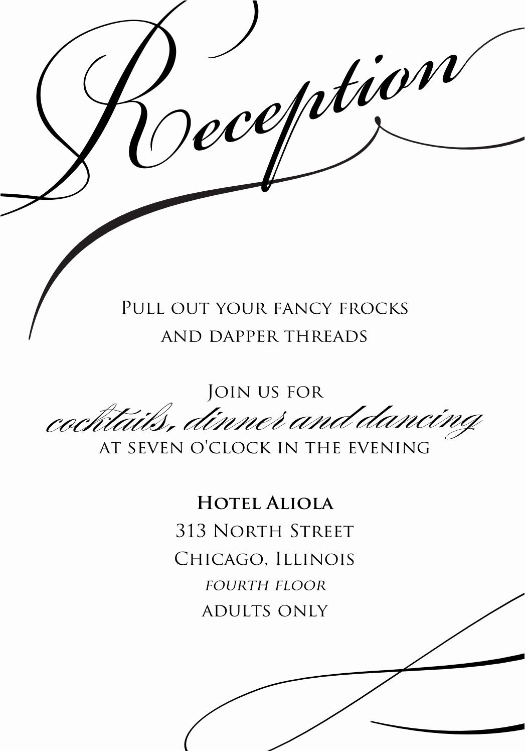 Reception Cards Template Free Elegant Wedding Invitation Wording Wedding Reception Invitation