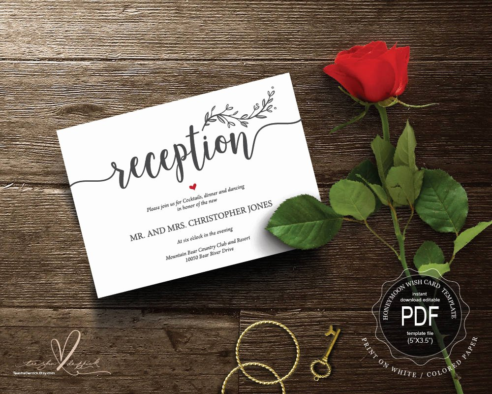 Reception Cards Template Free Fresh Wedding Reception Pdf Card Template Instant
