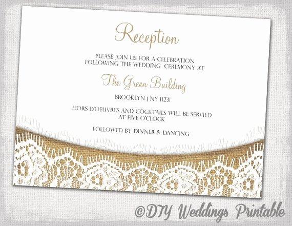 Reception Cards Template Free Luxury Rustic Reception Invitation Template Diy Printable