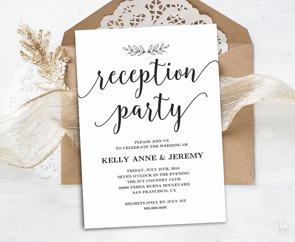 Reception Cards Template Free Luxury Wedding Reception Invitation Printable Reception Party Card