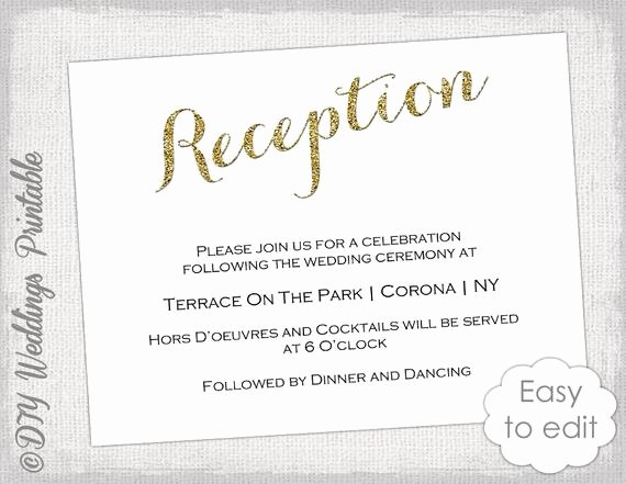 Reception Cards Template Free Luxury Wedding Reception Invitation Template Diy Gold