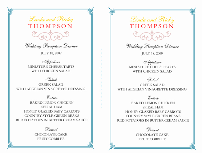 Reception Cards Template Free New Wedding Menu Template 5 Free Printable Menu Cards