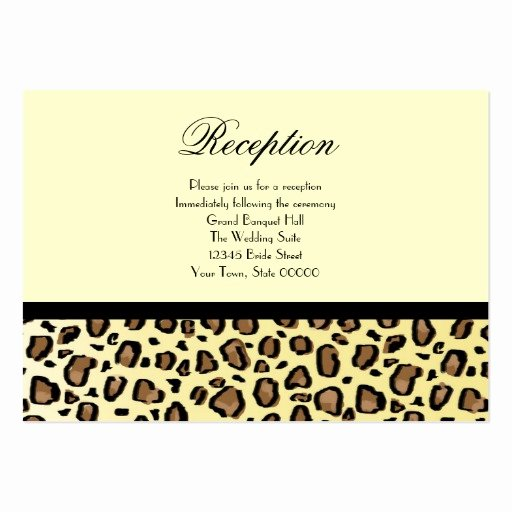 Reception Cards Template Free New Wedding Reception Cards Leopard Print Business Card