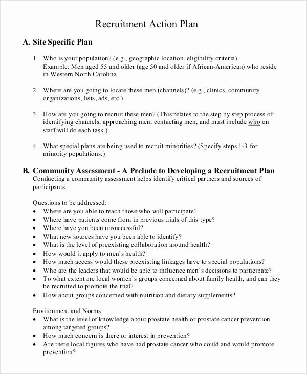 Recruitment Action Plan Template Luxury Recruitment Plan Templates 9 Free Word Pdf format