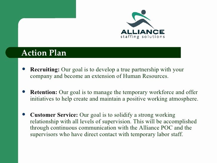 Recruitment Action Plan Template New Alliance Staffing solutions Power Point Presentation