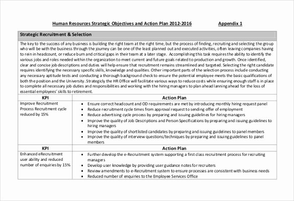 Recruitment Action Plan Template New Hr Strategy Template 31 Word Pdf Documents Download