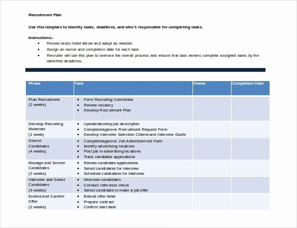Recruitment Plan Template Excel New Hiring Plan Template Yogatreestudio
