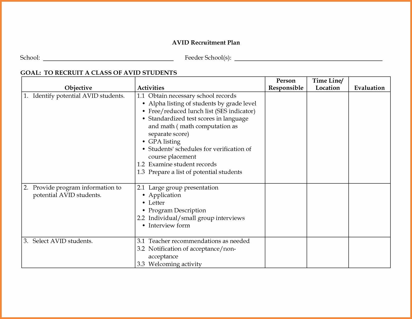Recruitment Plan Template Excel Unique Planning Recruitment Process Checklist Duty Templates