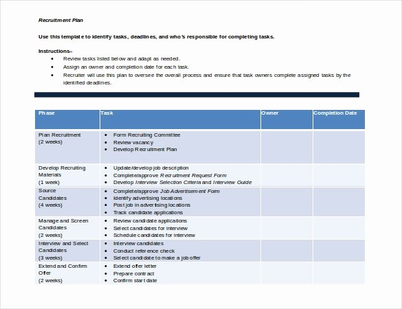 sample recruitment strategy template