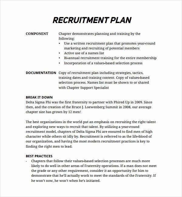 Recruitment Strategy Plan Template Awesome Sample Recruiting Plan Template 9 Free Documents In Pdf
