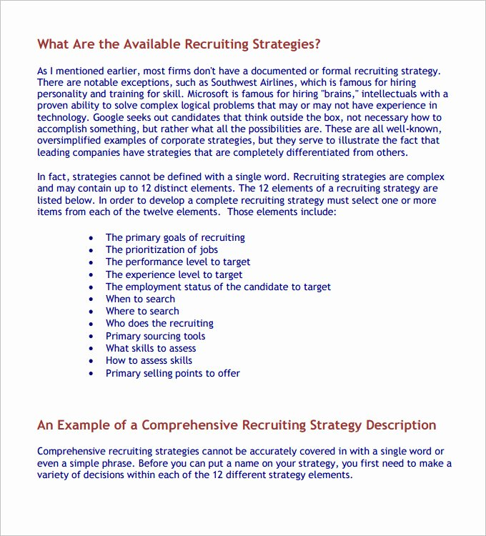 Recruitment Strategy Plan Template Lovely Hr Strategy Template 31 Word Pdf Documents Download