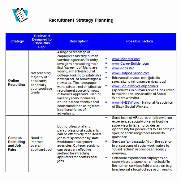 Recruitment Strategy Plan Template New 25 Plan Template Word Excel Pdf