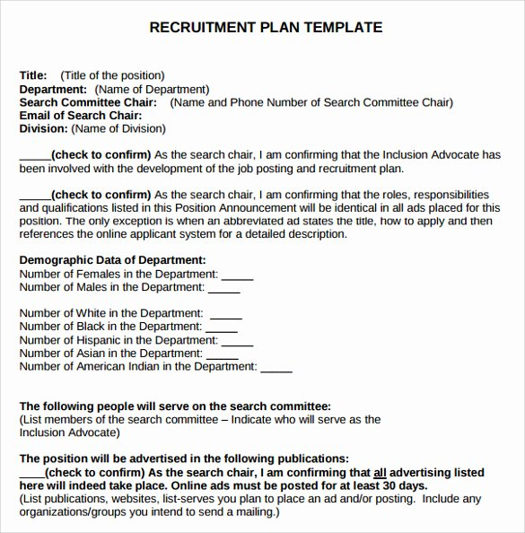 Recruitment Strategy Planning Template Luxury 8 Recruitment Plan Templates Download for Free
