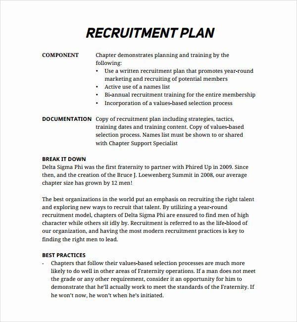 Recruitment Strategy Planning Template New Recruiting Plan Examples – Emmamcintyrephotography