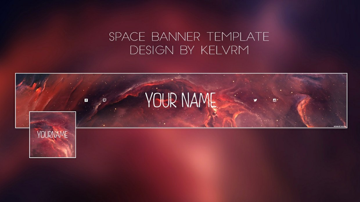 Red Youtube Banner Template Awesome Space Youtube Banner Template