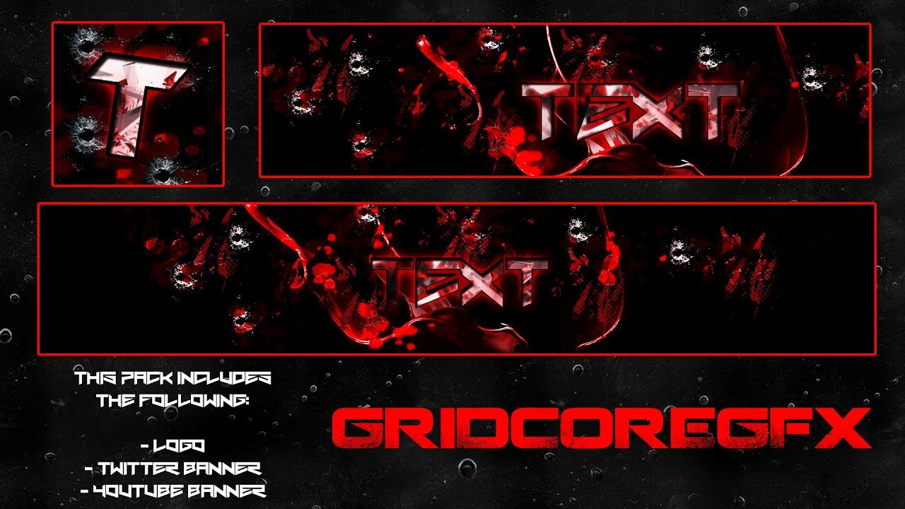 "Red Youtube Banner Template Lovely ""blood Red"" Free Gfx Logo Twitter Banner"
