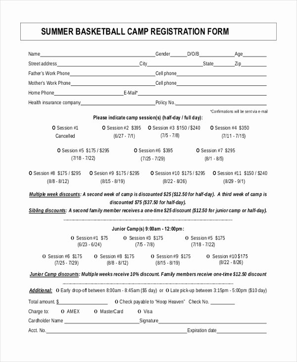 Registration form Template Word Lovely Basketball Camp Registration form Template Word