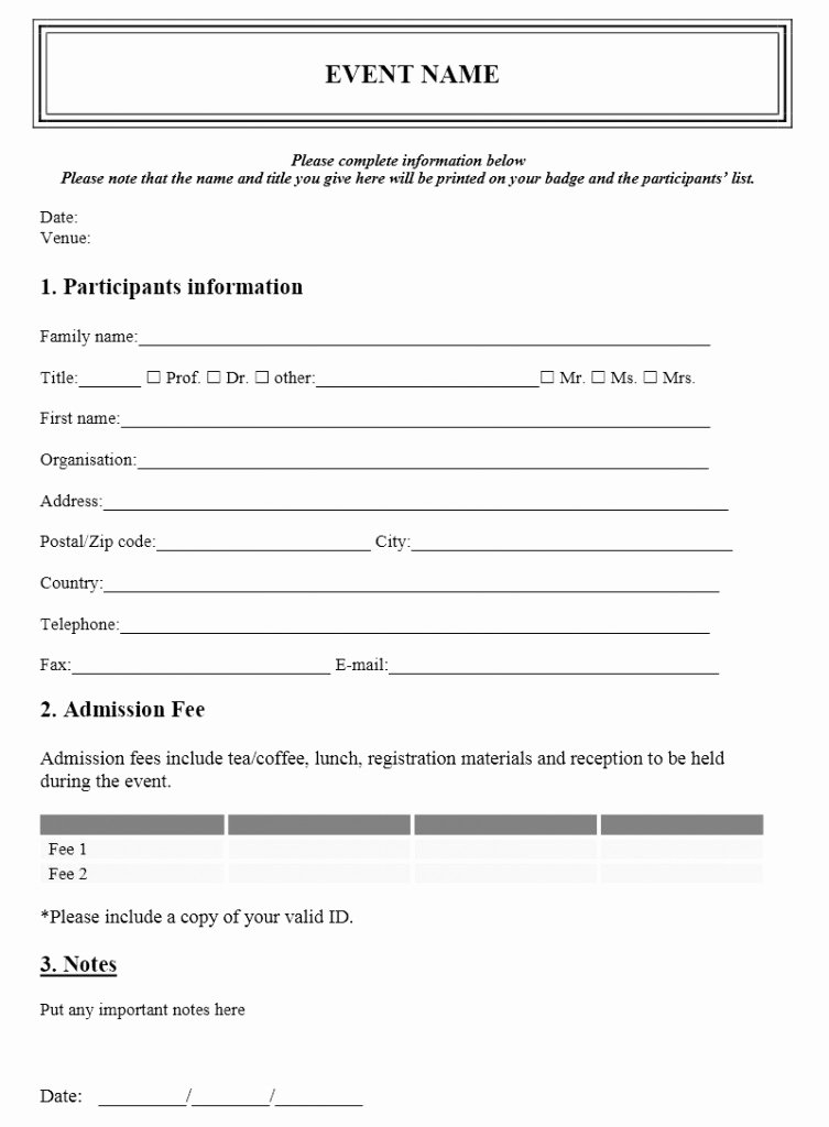 Registration form Template Word Luxury event Registration form Template