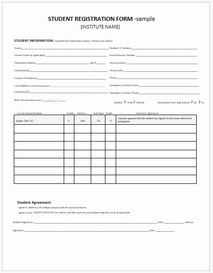 Registration form Template Word Luxury Student Registration forms for Ms Word