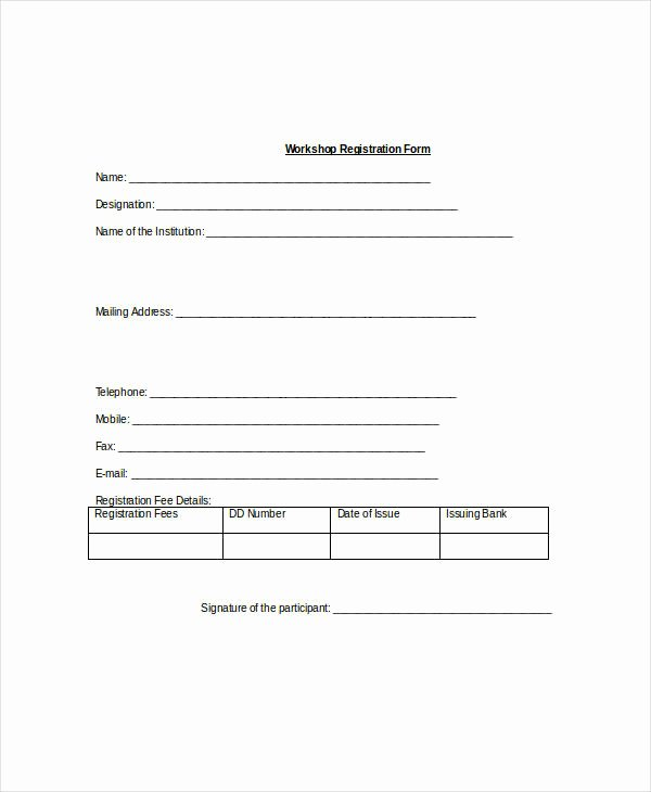 Registration forms Template Word Elegant Registration form Template 9 Free Pdf Word Documents